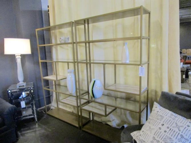 PAIR PRICED SEPARATELY GOLD WASH IRON AND GLASS BOOKSHELF UNIT