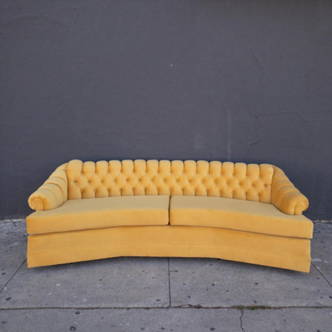Vintage 1970's Tufted Reupholstered Sofa in Yellow Velvet