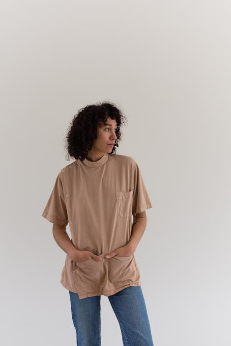 The Side Snap Smock in Dusty Pink | Vintage Overdye Painter Shirt | Short Sleeve Studio Tunic | Artist Smock | S M | by RAWSONSTUDIO