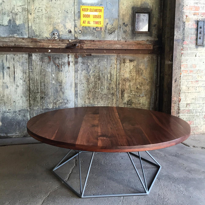 Coffee Table, Round Modern Coffee Table, Solid Walnut Top, with Hexagon Welded Steel Base by PWHFurniture