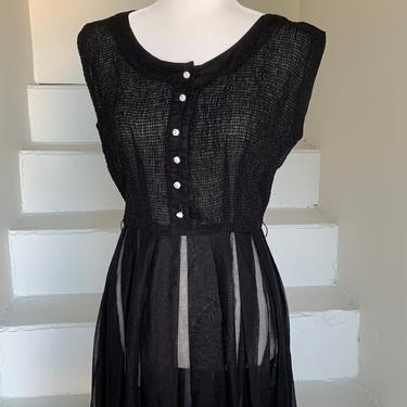 Simple Sheer 1950s Cotton Voile Dress 36 Bust Gored Panel Skirt Vintage Black by AmalgamatedShop