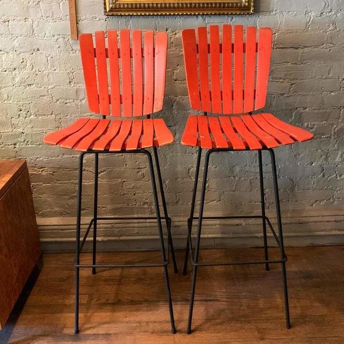 Slat Maple And Wrought Iron Bar Stools By Arthur Umanoff