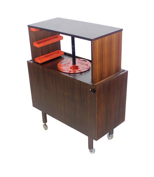 Rare Scandinavian Modern Rosewood Pop-Up Bar Cabinet Designed by Kai Krisitiansen