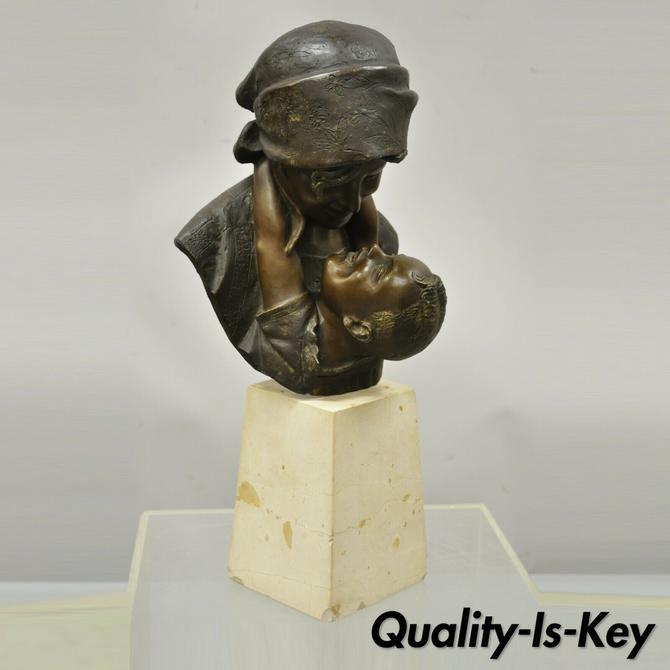 A. Merente Maternita Spelter Metal Travertine Bronze Mother Child Bust Sculpture