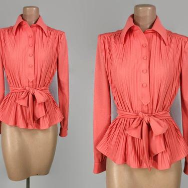 VINTAGE 70s Belted Waist Accoridon Pleated Blouse | 1970s Butterfly Collar Peplum Top | Disco Style Shirt | Coral Peach Color By Nancy Greer by IntrigueU4Ever