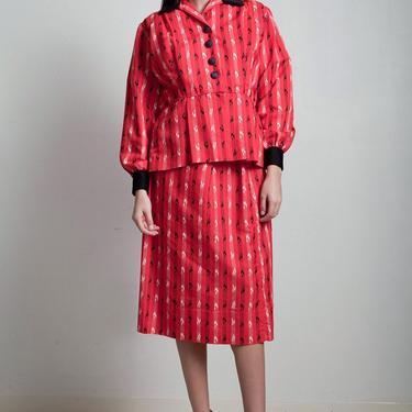 vintage 70s red skirt suit 3-piece peplum top blouse matching set long short sleeves stripe LARGE L by shoprabbithole