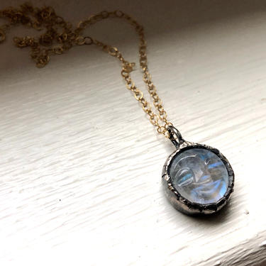 Smile Moon - moonstone pendant with carved face in sterling silver bezel on 14k gold filled chain by RachelPfefferDesigns
