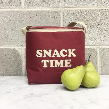 Vintage Lunch Bag Retro 1990s Wellington + Snack Time + Insulated + Portable + Hand Held Container + Food Storage + Maroon and Beige by RetrospectVintage215