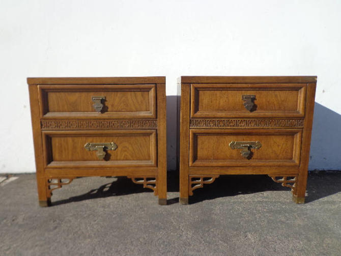 size 40 409d8 c4f2f Pair of Nightstands Dixie Shangri La Faux Bamboo Bedside Tables Bohemian  Boho Chic Chinoiserie Campaign Hollywood Regency CUSTOM PAINT AVAIL by ...