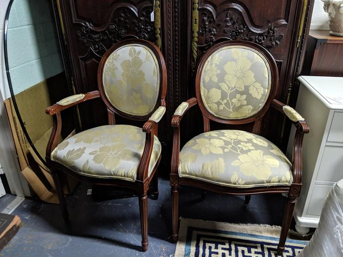 Pair of Gold Floral Chairs