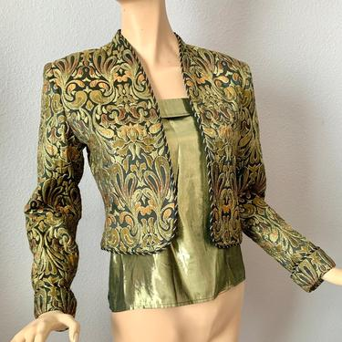 Glitzy Gold Metallic 2-Pc, Blazer and Tank Top, Brocade Jacket, Crop Top, Vintage 70s 80s by GabAboutVintage