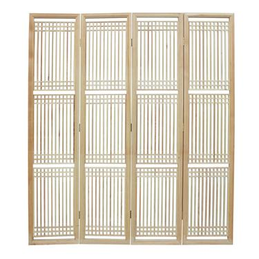 Chinese Raw Finish Bar Pattern Wood Panel Screen Room Divider cs2496E by GoldenLotusAntiques