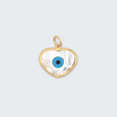 Mother of Pearl Heart Evil Eye