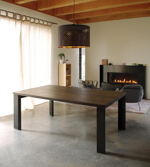 reclaimed wood dining table with custom steel legs - modern minimalist - industrial - urban salvage by birdloft