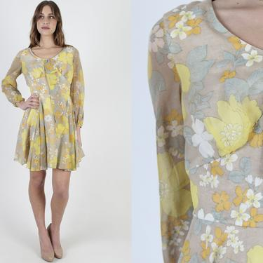 60s Yellow Micro Mini Dress / Vintage 1960s Mod Scooter Dress / Large Floral Go Go Dress / A Line Cocktail Party Bow Tie Dress by americanarchive