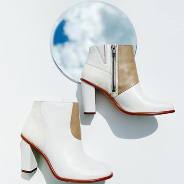 TIBI White Leather & Ponyhair Ankle Boots