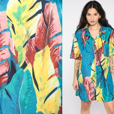 Tropical Leaf Shirt Surfer Blue HAWAIIAN Blouse 80s Top Leaf Print Button Up Short Sleeve Surf 90s Vintage Large xl l by ShopExile