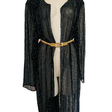 80s Vintage sequin duster, long black sequin duster, heavily embellished sheer coat, beaded opera coat, duster coat size large l 14 by RETROSPECTNYC