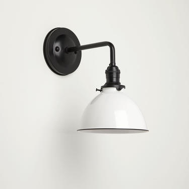 "Industrial Wall Sconce - Matte Black - Wall Sconce Lighting -  7"" Metal Dome Shade - Vintage Industrial Style by OldeBrickLighting"