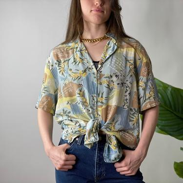 Vintage Diane Von Furstenburg Silk Hawaiian Print Button Down Short Sleeve Blouse, Large by Northforkvintageshop