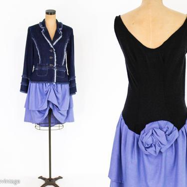 1990s Black & Blue Party Dress   90s Sleeveless Asymmetrical Dress   fufi CLOBBER NAAS   Medium by GlennasVintageShop