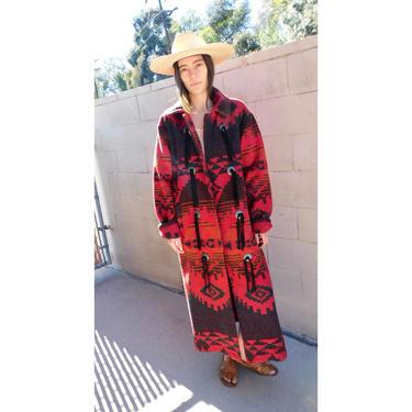 Woolrich Jacket // wool red boho hippie blanket dress coat blouse southwest southwestern 80s 90s oversize // O/S by FenixVintage