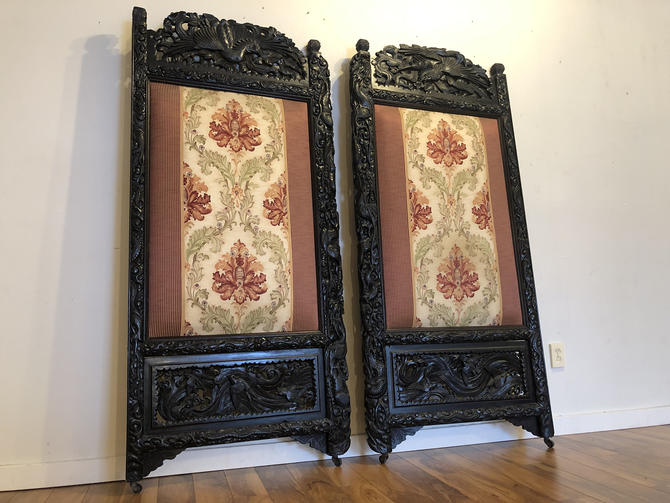 Meiji Period Phoenix Carved Screens / Doors by Vintagefurnitureetc