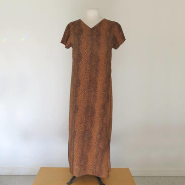 1990s snakeskin print dress with sheer overlay by flutterandecho