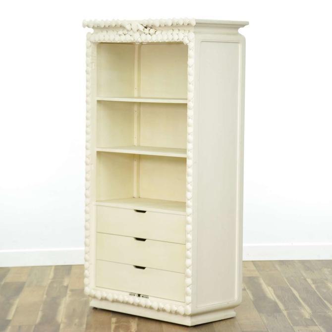 White Bookcase Cabinet W Seashell Mosaic Crown