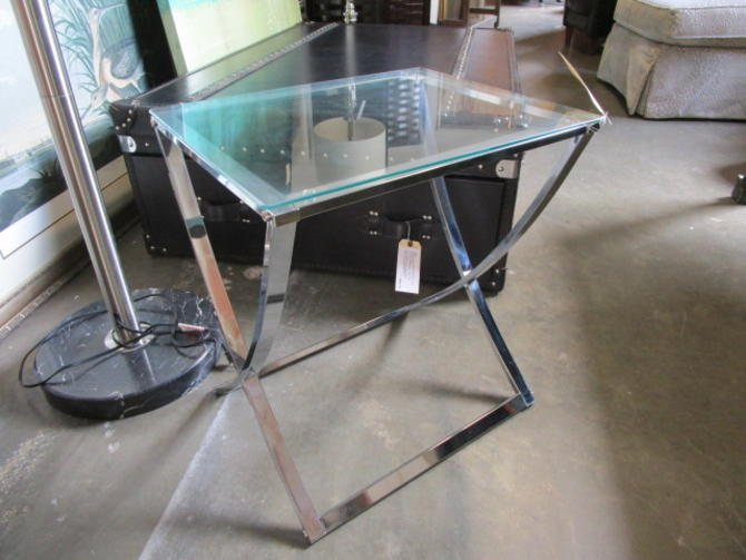 CHROME AND GLASS ACCENT TABLE