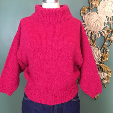 1980s sweater, turtleneck sweater, hot pink boucle, vintage sweater, size medium, cropped knit top, a'milano, 36 bust, 3/4 length, boxy by BlackLabelVintageWA