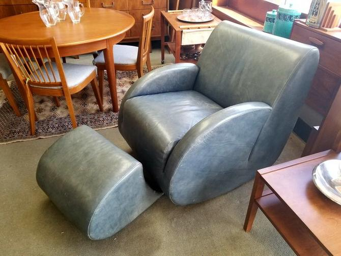 Vintage leather chair and ottoman