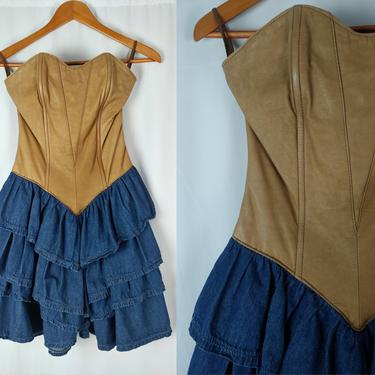 Vintage Eighties XXS Leather Corset Top Denim Ruffle Dress - 80s Danna Leather Bustier Strapless Dress with Tiered Mini Skirt by JanetandJaneVintage
