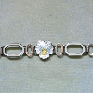 Antique 1920's Art Deco Sterling Enamel Pansy Bracelet, Sterling Guilloche Enamel Bracelet, Vintage Enamel Pansy Bracelet (#3876) by keepsakejewels