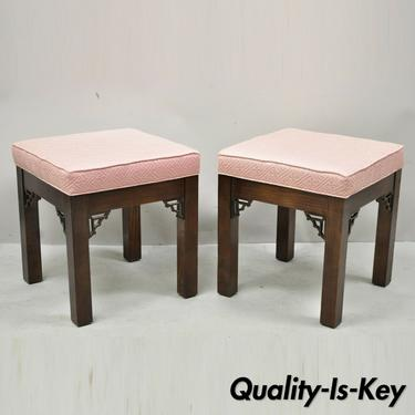 Chinese Chippendale Fretwork Square Pink Upholstered Stools Ottoman - a Pair
