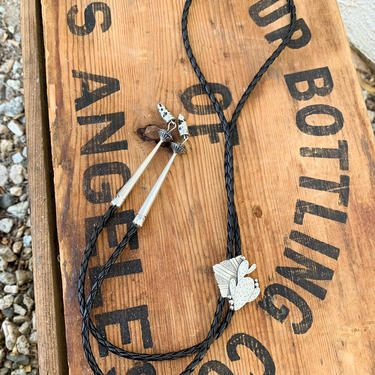 Handmade Dalmatian Jasper Sterling Silver Cactus Western Bolo Tie by CottontailTrdPost