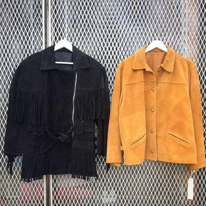 New selection of #vintagesuede jackets in the shop: #1980s #fringe black biker $145 and #1960s tan button down $215  #meepsdc #vintagefall #adamsmorgan #bikerjacket #easyrider