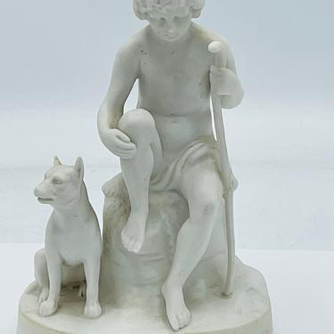 """Vintage Hertwig Porcelain bisque Figurine Featuring a Boy and his dog- 1940's Germany- 6"""" by JoAnntiques"""