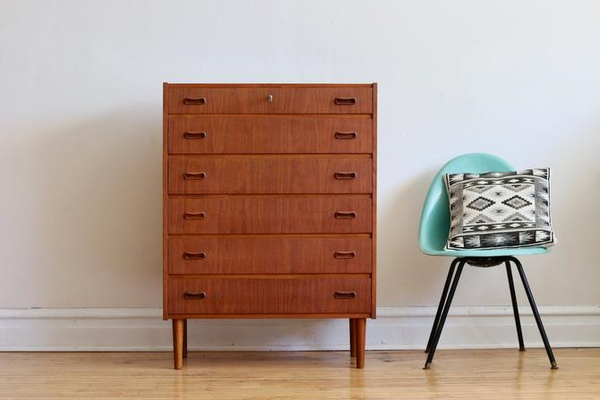 Scandinavian Mid Century Modern Teak Highboy Dresser by SharkGravy