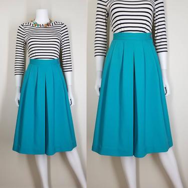 1970s Pleated Teal Culottes, Medium ~ High Waist Wide- Legged Shorts ~ Side Button Retro Resort Wear Midi Skirt ~ Flared Trouser Skorts by SoughtClothier