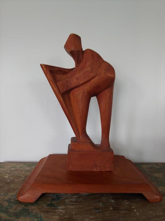 Mid Century Modern Vintage Brutalist Wood Harpist Sculpture by ModandOzzie