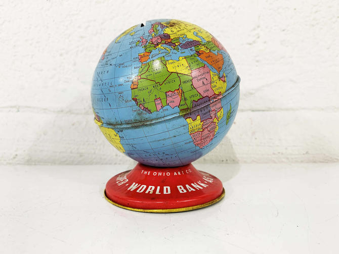 True Vintage Globe Bank Mid Century Ohio Art Tin Lithograph Metal World Map Mantique Baby Kids Room Decor Nursery by CheckEngineVintage