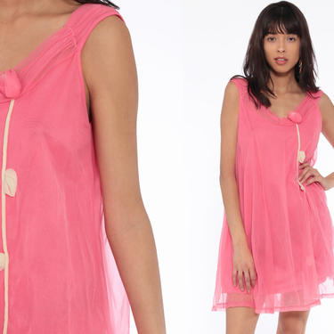 6d7592e3ce16 Pink Floral Nightgown Lingerie Slip Dress 70s Babydoll Mini Lace Pink  Nightie Tent Trapeze Filmy Boho