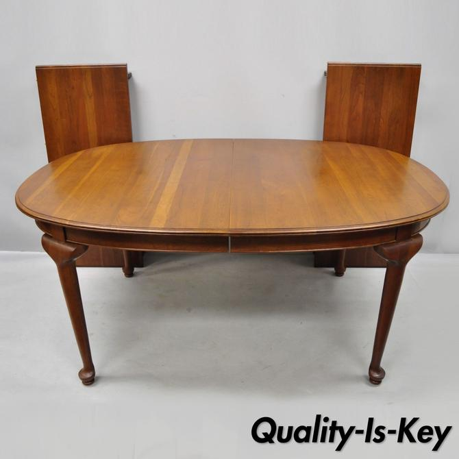 Vtg American Traditional Ethan Allen Sheffield Oval Cherry Dining Table 2 Leaves
