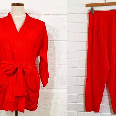 Vintage Robe Leisure Fashions Red Smoking Jacket Nightgown Pajamas Pajama Set PJ Pants Asian Floral Flowers Flower Lingerie Small XS by CheckEngineVintage