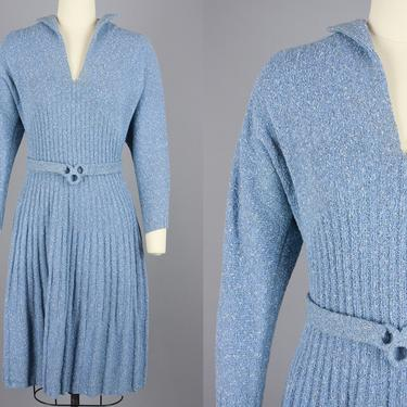 1940s Knit Dress Set | Vintage 40s Light Blue Flecked Sweater Dress with Belt & Headband | Medium / Large by RelicVintageSF