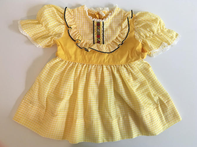Vintage Children's Yellow Dress Plaid Checked Kid's Short Sleeve Girl's Dress Lace Collar Ribbon Children White Navy Red by CheckEngineVintage
