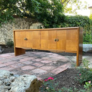 Long Art Deco Walnut and Oak Sideboard with Brass Shell Shaped Pulls, Beachy, Coastal, Bohemian, Slight Rustic Style by PrimaForme