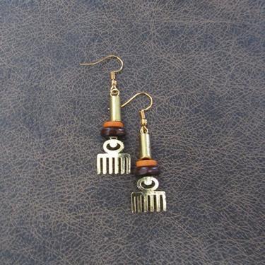 Afro pick earrings, adinkra symbol earrings, beauty earrings, bold statement earrings, Afrocentric earrings, comb earrings, brass earrings 9 by Afrocasian