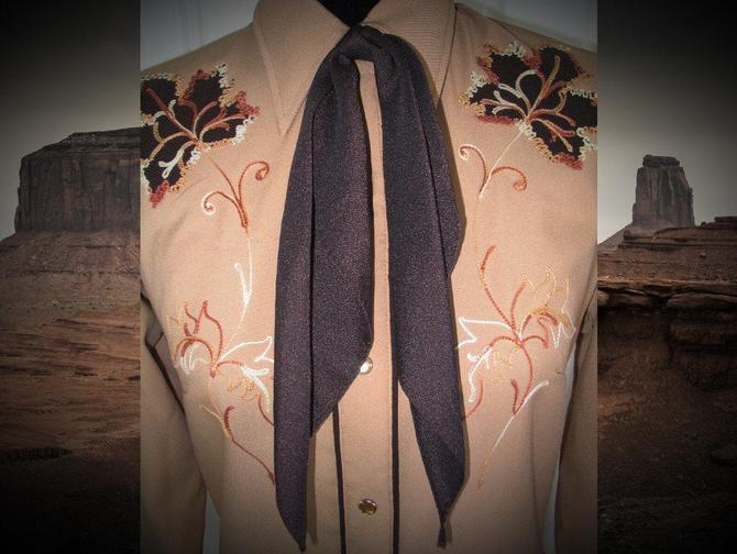 Vintage Western Neck Scarf, Neck Tie, Apache Tie, Square Dance or Rockabilly, Dark Brown by ShowinStyle